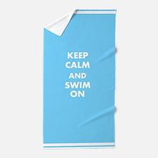 Keep Calm And Swim On Beach Towel