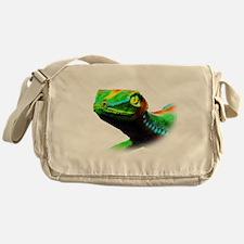 Gecko Lizard Close up 3d digital Art Messenger Bag