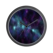 Purple Galaxy Wall Clock