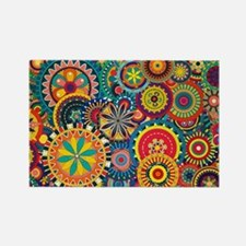 Colorful Floral Pattern Rectangle Magnet