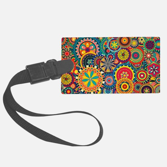 Colorful Floral Pattern Large Luggage Tag