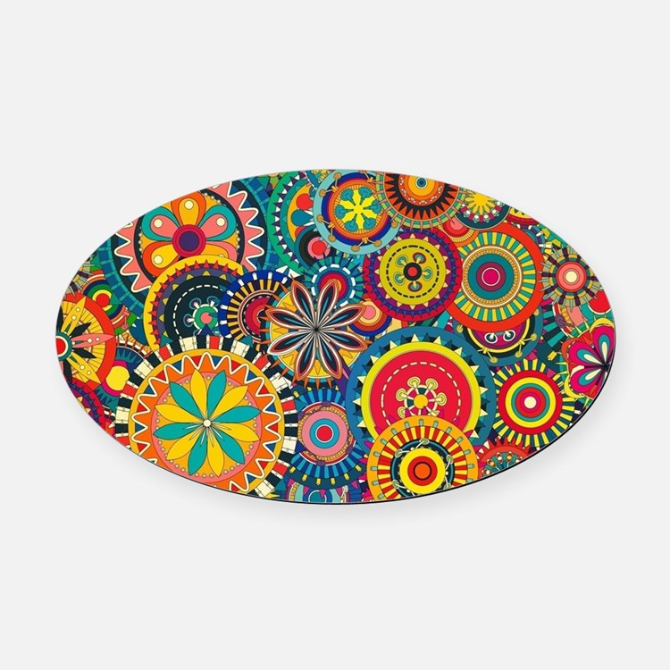 Colorful Floral Pattern Oval Car Magnet