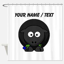 Custom Cartoon Black Sheep Shower Curtain