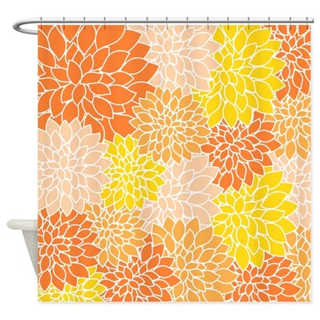 Orange Floral Pattern Shower Curtain By Listing Store 119075029