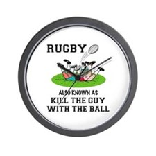 Rugby Kills Wall Clock