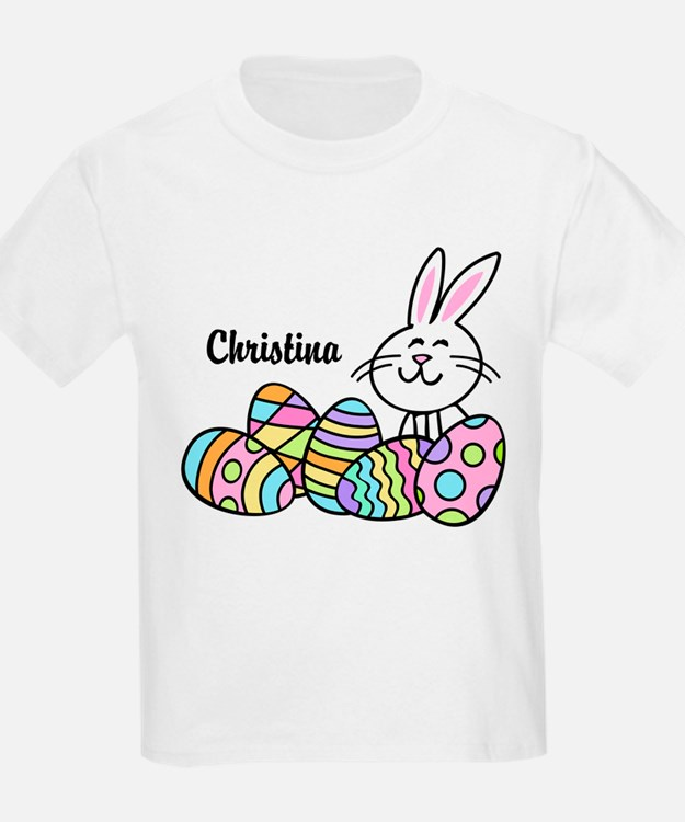 Personalized Bunny And Eggs T-Shirt