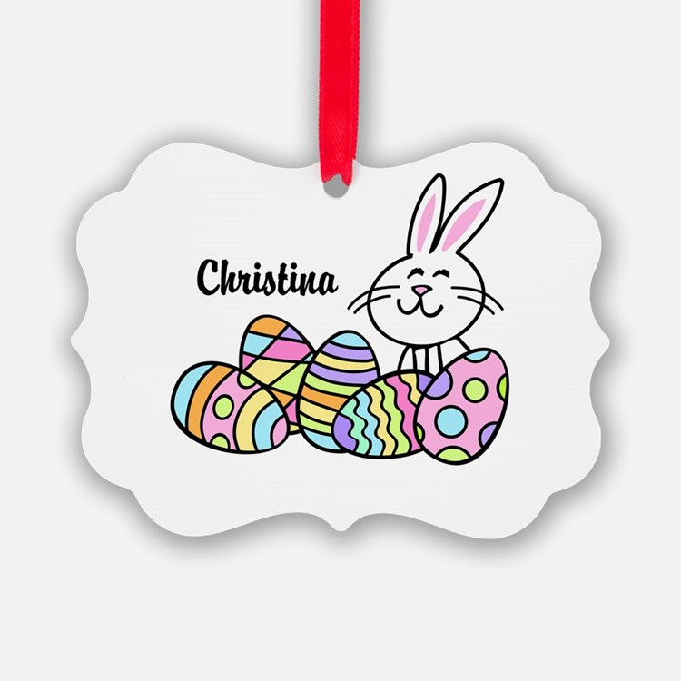 Personalized Bunny And Eggs Ornament