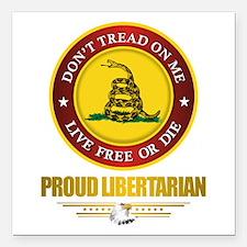 "(DTOM) Libertarian Square Car Magnet 3"" x 3"""