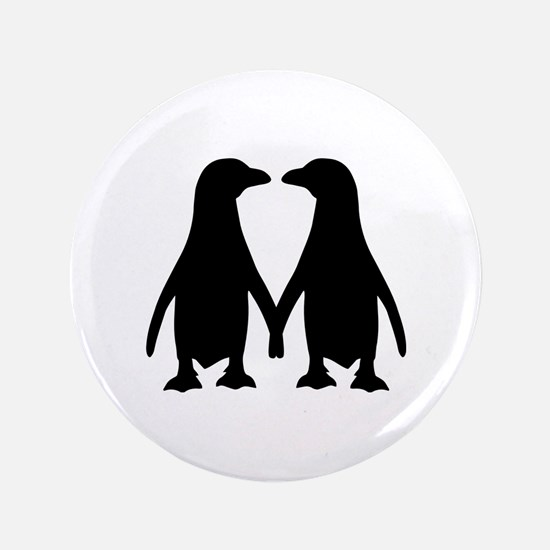"Penguin couple love 3.5"" Button"