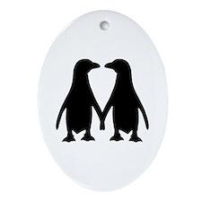 Penguin couple love Ornament (Oval)