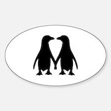 Penguin couple love Sticker (Oval)