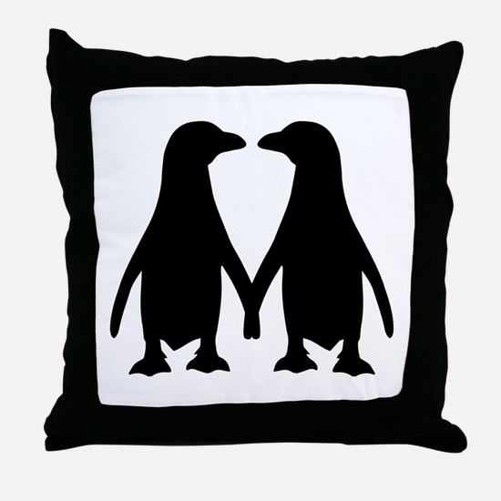 Penguin couple love Throw Pillow