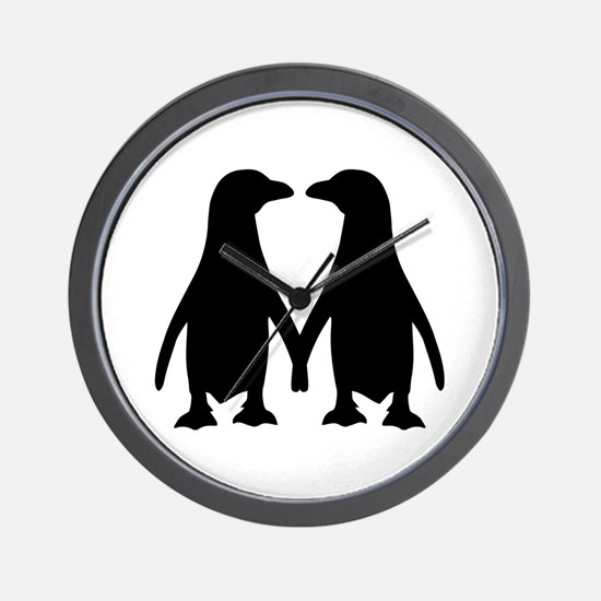 Penguin couple love Wall Clock