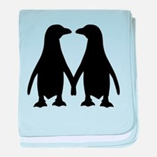 Penguin couple love baby blanket