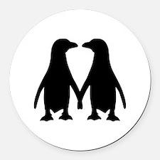 Penguin couple love Round Car Magnet