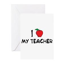 Cute I love my teacher Greeting Cards (Pk of 10)