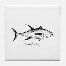 Yellowfin Tuna Logo (line art) Tile Coaster