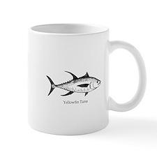 Yellowfin Tuna Logo (line art) Mugs