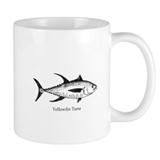 Yellowfin Tuna Logo (line art) Mugs