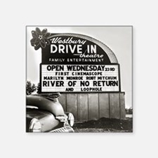 "Drive-In Theater Marquee, 1 Square Sticker 3"" x 3"""