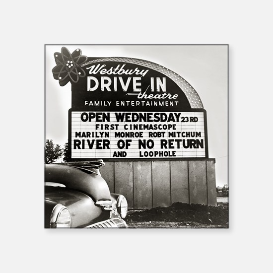 "Drive-In Theater Marquee, 1 Square Sticker 3"" x 3"""