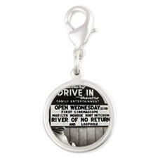 Drive-In Theater Marquee, 1954 Silver Round Charm
