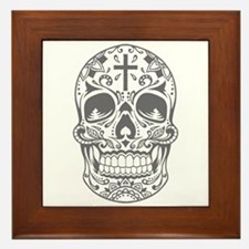 SugarSkull Grey-01 Framed Tile