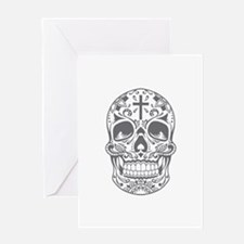 SugarSkull Grey-01 Greeting Cards