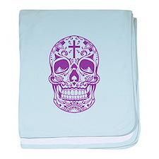 SugarSkull Purple-01 baby blanket