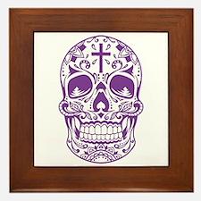 SugarSkull Purple-01 Framed Tile