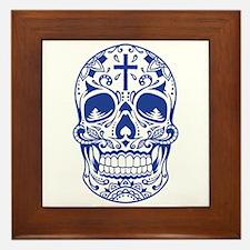 SugarSkull Blue-01 Framed Tile