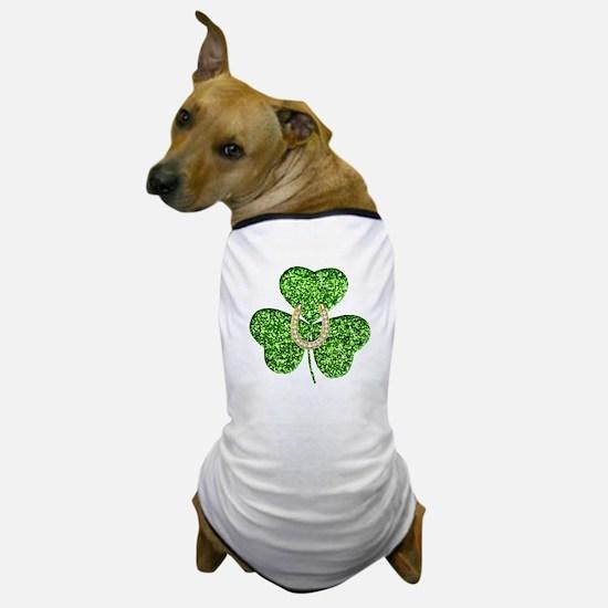 Glitter Shamrock And Horseshoe Dog T-Shirt