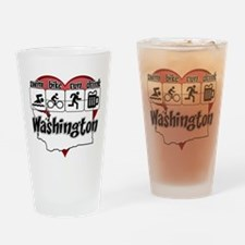 Swim Bike Run Drink Washington Drinking Glass