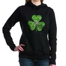 Glitter Shamrock With A Flower Hooded Sweatshirt