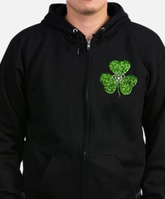 Glitter Shamrock With A Flower Zip Hoodie