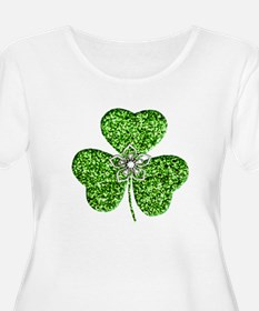 Glitter Shamrock With A Flower Plus Size T-Shirt