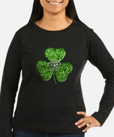 Glitter Shamrock With A Flower Long Sleeve T-Shirt