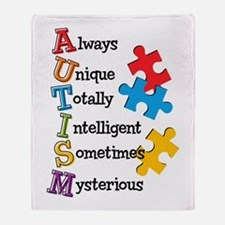 Autism Acrostic Throw Blanket