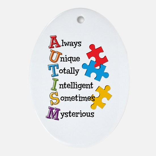 Autism Acrostic Ornament (Oval)