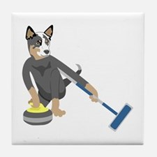 Australian Cattle Dog Curling Tile Coaster