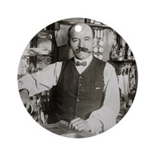 Bartender Pouring Drink, 1910 Round Ornament