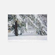 Snowy trees in winter landscape 5'x7'Area Rug