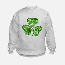 Glitter Shamrock With A Flower Sweatshirt