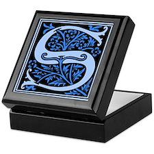 Blue Fleur2 Monogram S Keepsake Box