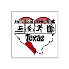 "Texas Swim Bike Run Drink Square Sticker 3"" x 3"""