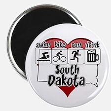 South Dakota Swim Bike Run Drink Magnet