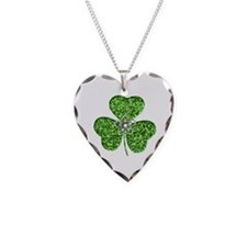 Glitter Shamrock With A Flower Necklace