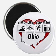 Ohio Swim Bike Run Drink Magnet