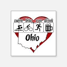 "Ohio Swim Bike Run Drink Square Sticker 3"" x 3"""