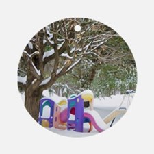 Childrens playground in the snow Ornament (Round)
